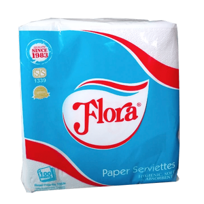 Flora Paper Serviettes (100 White Sheets)
